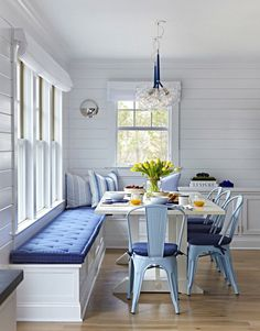 "Beach Cottage with Crisp and Fresh Coastal Interiors - ""Kitchen Nook Banquette"" - Interior Design Fans Coastal Living Rooms, Dining Room Design, Coastal Interiors, White Dining Room, Farmhouse Dining, Home, Dining Room Small, Dining Nook, Home Decor"