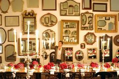 Mirrors on wall, pink centerpieces - Bronson van Wyck
