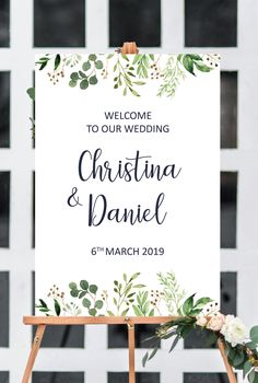 Garden wedding signs printable, greenery wedding welcome sign, garden wedding ideas, wedding decorations decor from Pink Summer Designs on Etsy