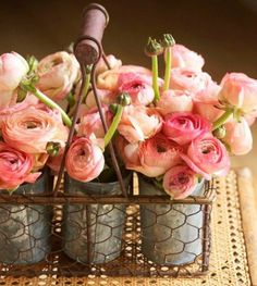 pink roses 10 ways, easter decorations, flowers, gardening, home decor, mason jars, repurposing upcycling, seasonal holiday decor, Pink Roses in Tin Cans such a pretty way to combine rustic charm with pretty florals from Decorating your Small Space