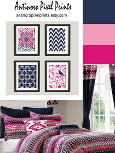 Items similar to Pink Navy Fucshia Vintage / Modern inspired Art Prints Collection -Set of - Prints - (UNFRAMED) on Etsy Gold Bedroom, Bedroom Decor, Bedroom Ideas, Amazing Decor, Pink Room, Big Girl Rooms, Home Decor Items, My Room, Decoration