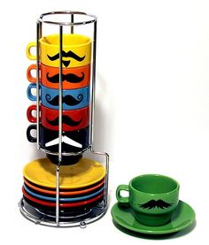 Mustache Coffee Mugs w/ matching plates. Espresso Cups Set, Espresso Coffee, Coffee Drinks, Coffee Mugs, Espresso Machine Reviews, Save My Money, Mustache, Gifts For Family, Cool Kitchens