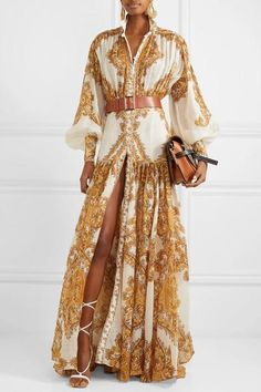 Multicolored silk Button fastenings through front silk Dry clean Designer color: Golden Paisley Imported Elegantes Outfit, Maxi Styles, High Fashion, Womens Fashion, Elegant Dresses, Couture Fashion, Fit And Flare, Dress To Impress, Casual Outfits