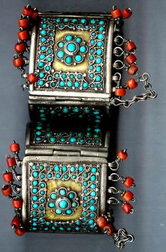Uzbekistan | Silver gilt cuffs with inlaid turquoise and coral fringe | ca. late 19th century, probably Tashkent | ©Linda Pastorino