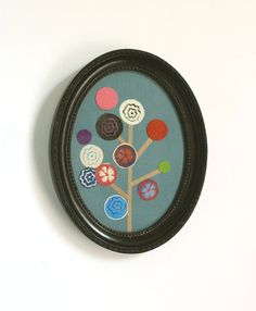 Flower Tree Collaged Print in an Oval Frame by PegsPrintHouse