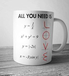 All You Need Is Love Math Mug These simple Mugs have a capacity of and are stackable for quick and easy use in a fast paced and busy environment. Made from high quality ceramic and these Mugs are fully vitrified for heat and shock. Cute Gifts, Diy Gifts, Funny Gifts, Geek Gifts, Math Jokes, Algebra Humor, Science Jokes, Love Math, Teacher Gifts