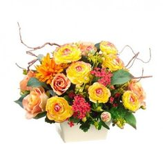 Yellow and Red Hydrangea Mum Silk Floral Centerpiece ARWF1216