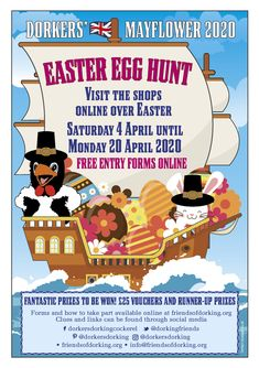 Join in the Dorkers' Mayflower Easter Egg Hunt. Easter Holidays, School Holidays, Easter Saturday, May Flowers, Egg Hunt, How To Raise Money, Christmas Lights, Easter Eggs, Join
