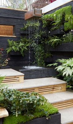Using different levels in a small garden is a great way to make the space feel bigger. Here you step up to a water feature and then turn and step down to a sunken seating area seating Top Garden Design Ideas from the Young Gardeners Garden Wall Designs, Backyard Garden Design, Small Backyard Landscaping, Small Garden Design, Backyard Ideas, Balcony Garden, Backyard Patio, Landscaping Ideas, Pond Ideas