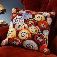 Escargot - Ehrman Tapestry Beautiful snail shell pattern by Kaffe Fassett, needlepoint kit Needlepoint Designs, Needlepoint Pillows, Needlepoint Kits, Needlepoint Canvases, Cross Stitch Flowers, Cross Stitch Patterns, Textiles, Rug Hooking Frames, Crochet Cushion Cover
