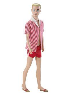 1961 Barbie Gets a Boyfriend! Barbie's arm candy was a blonde buzz cut clean shaven lad.