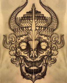 Horned kapala. Available to be tattooed! email on elliott@triplesixstudios.com…