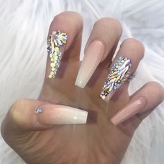 ✨My nails, look at that shine ✨  Using Glamandglits :-  ColourPop Acrylic - Almost Nude   Kiarasky no wipe topcoat   Swarovski Crystals - white Opal, crystal AB , rose gold, and Raindrop in rose gold , aurum gold and crystal AB, and new shimmer colour shifting Swarovski's coming soon to site  All Avaliable for purchase off my website  www.nailsbyannabel.co.uk  WE SHIP WORLDWIDE  Free shipping orders over £50 to UK.