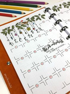 Adorable monthly bujo / bullet journal layout - Christmas themed! (Saved from Facebook, image not my own)