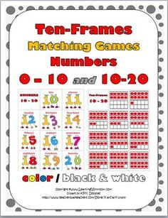 Ten-Frames Matching Games 0-10 and 10-20 (Color and B+W)