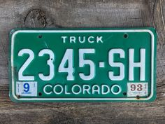 Colorado Truck License Plate Number2345SH in Green with White Letters Sept 1993 Registration    #CoLicensePlate #Colorado #Green #GreenAndWhite #LicensePlate #GreenLicense #ColoradoTruck #ManCave #Truck