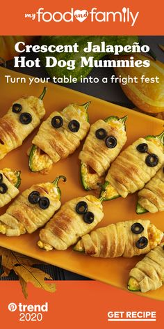 Turn your Halloween table into a fright fest with these deliciously spooky and super-easy Crescent Jalapeño Hot Dog Mummies. OSCAR MAYER Wieners, cheese-stuffed jalapeño peppers and crescent rolls topped with olives for eyes make for festive hot dog mummies your guests are sure to love.