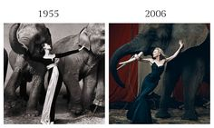 Dovima with Elephants is one of Avedon's most well-known photographs featuring the model Dovima dressed in Dior at the Cirque d'Hiver of 1955 in Paris. To celebrate the relaunch of Harper's Bazaar UK, previously Harper's and Queen since 1970, in March of 2006, Norman Jean Roy photographed actress Cate Blanchett in a black Vivienne Westwood bodice and skirt ensemble similarly positioned amongst elephants, perhaps an homage to Avedon's rich history at Harper's Bazaar.