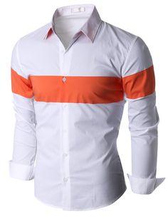 Doublju Men's Long Sleeve Color Blocking Dress Shirt (KMTSTL0186) #doublju