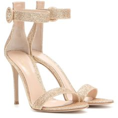 Gianvito Rossi Portofino Glitter Sandals ($585) ❤ liked on Polyvore featuring shoes, sandals, heels, sapatos, chaussures, gold, gold glitter sandals, gold shoes, gianvito rossi and gianvito rossi sandals