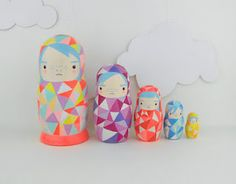 I love neon and geometric shapes! Geometric Nesting Doll Matroyshka 'Little Neons' by Becky Kemp