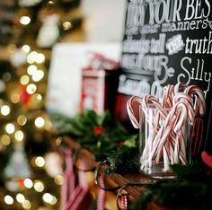 Blackboard with candy canes