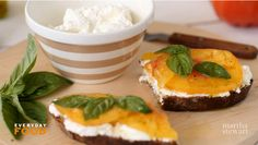 Mmm...fantastic heirloom tomato and creamy ricotta toast recipe by Sarah Carey on Martha Stewart. We could eat this every meal!
