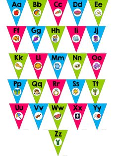 Alphabet Pennants:  Brights