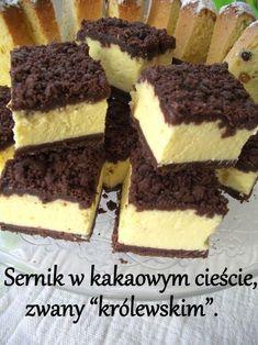 """Sernik w kakaowym cieście, zwany """"królewskim"""". Lemon Cheesecake Recipes, Chocolate Cheesecake Recipes, Polish Desserts, Polish Recipes, Baking Recipes, Dessert Recipes, Kolaci I Torte, Icebox Cake, Sweet Cakes"""