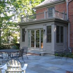 slate and brick patio, raised stone patio Glencoe Private Residence 2 - traditional - exterior - chicago - COOK ARCHITECTURAL Design Studio Traditional Exterior, Modern Exterior, Exterior Design, Exterior Houses, Brick Design, Exterior Trim, Cafe Exterior, Modern Roofing, Stucco Exterior