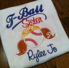 T-Ball Baseball Softball Sister Embroidered Personalized Shirt. $18.00, via Etsy.
