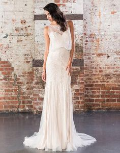 *NEW ARRIVAL* Style '9825' by Justin Alexander Signature is the perfect dress for a vintage glamour inspired wedding. A geometric beaded straight gown with a Sabrina neckline, beaded overlay bodice, and beaded tulle skirt finished with a sweep train. #scarletpoppybridalboutique #luckybrides #redcarpetready #beaded #vintage #gatsby #stunning #glamour #leedsbridal #wedding