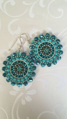 Small Earrings - Aquamarine and Turquoise Seed Beaded Earrings - Multicolored Disc Earrings , Small Earrings, Seed Bead Earrings, Chandelier Earrings, Beaded Earrings, Seed Beads, Crochet Earrings, Bead Jewellery, Jewelery, Beaded Jewelry Patterns