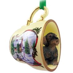 Wire Haired Dachshund Red Dog Tea Cup Snowman Ornament