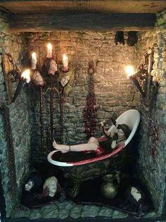 Elizabeth Bathory McFarlane figure taken to the max by artist 🎨Connie Sauve Arte Horror, Horror Art, Dark Fantasy, Fantasy Art, Dibujos Dark, Dark Romance, Giger Art, Elizabeth Bathory, Vampire Art
