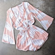 reverse - day in the sun romper in peach jungle - shophearts - 1