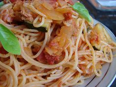 Pasta With Tomatoes and Tuna Sauce.