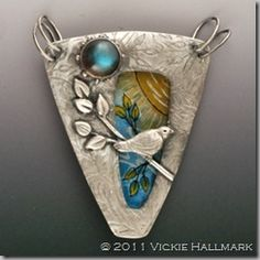 Metal Jewelry Sunbird Pendant Vickie Hallmark fine silver, hand-painted vitreous enamel on glass, rainbow topaz - Vickie Hallmark reverse-painted vitreous enamel on glass, embedded in fine silver, Argentium sterling jumprings Metal Clay Jewelry, Bird Jewelry, Enamel Jewelry, Polymer Clay Jewelry, Glass Jewelry, Jewelry Crafts, Jewelry Art, Unique Jewelry, Silver Jewelry