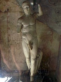 *POMPEII ~ Statue of Priapus located in a small cubicle leading off from the kitchen of the House of Vetii. The large hole in the male member indicates that the statue was most probably originally used as a fountain in the garden of the house. Ancient Pompeii, Pompeii And Herculaneum, Ancient Art, Ancient History, Pompeii Italy, Roman History, Art History, Greek Gods And Goddesses, Roman Sculpture