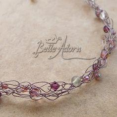 wire crochet  jewelry | Belle Adorn: Crocheted Crochet Beaded Wire Necklaces