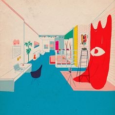 Artist Mike Ellis illustrates rooms from his friends' houses