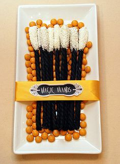 magic licorice wands... Use fun, bright colors like pink or blue for non-Halloween  kids' parties