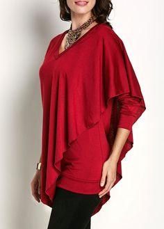 Red Asymmetric Hem Long Sleeve V Neck T Shirt on sale only US$27.79 now, buy cheap Red Asymmetric Hem Long Sleeve V Neck T Shirt at liligal.com