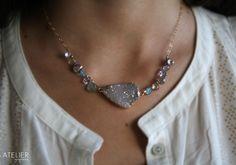 Goldfilled necklace, brazilian drusy, pink amethyst, iolite, lemon quartz, labradorite, pearl keshi <3 Available at: www.facebook.com/ateliergabymarcos