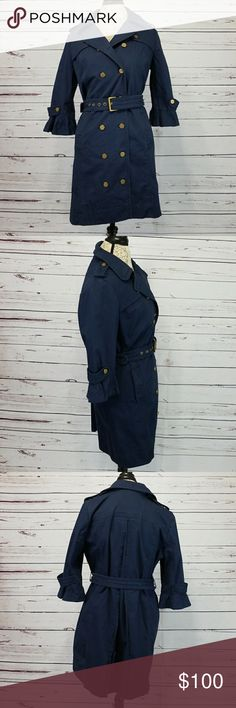 "Juicy Couture Navy Flounce Sleeve Trench Coat EUC Juicy Couture Navy blue Flounce Sleeve Trench coat. Gold hardware. Yellow and white polka dot fabric inside sleeves. 2 front buttoned pockets. 99% cotton, 1% spandex. Dry clean recommended but is machine washable. Lay flat measurements: approximately 35"" long, 21"" pit to pit when buttoned fully. Juicy Couture Jackets & Coats Trench Coats"