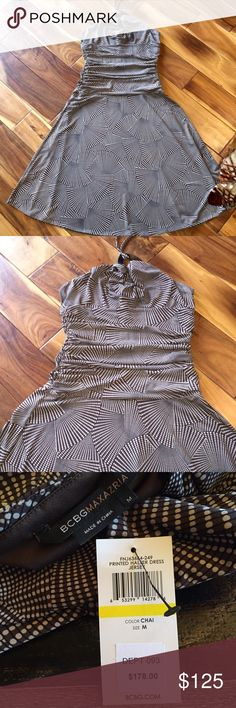 😍BCBG MAXAZRIA-Chai-sz. Medium, Dress is a MUST😍 🔥This BCBG MAXAZRIA Dress is HOT, ties around neck w/slimming rouched midline it's definitely a MUST HAVE IN THE CLOSET! The color is CHAI--brown-white-black-see colors on photo #3(Upclose)-Size MEDIUM. Bought at BCBG in New York. BCBGMaxAzria Dresses Strapless