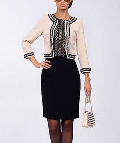 Look at this #zulilyfind! Milky & Black Layered Wool-Blend Dress #zulilyfinds