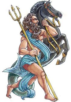 Poseidon - God of the seas, earthquakes, and tidal wave. Symbols include the horse, bull, dolphin, and trident. Middle son of Cronus and Rhea. Brother of Zeus and Hades. Married to the Nereid Amphitrite, although, like most male Greek Gods, he had many lovers. (Click the link for more beautiful illustrations of the Greek/Roman gods!)