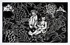 """Linografía de Loro Coirón cedida por él para la cubierta del libro """"Patrimonio vitivinícola: aproximaciones a la cultura del vino en Chile"""" Chile, Abstract, Artwork, Bahia, Parrot, Culture, Artists, Art, Summary"""