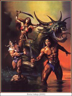 Covers By Boris Vallejo Golden Axe II - Sega Genesis and Mega Drive Boris Vallejo, Fantasy Kunst, Dark Fantasy Art, Fantasy Artwork, Julie Bell, Retro Video Games, Video Game Art, Retro Games, Conan O Barbaro